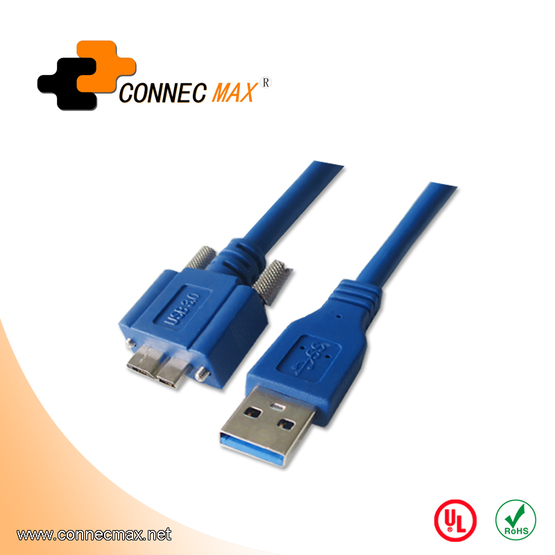 USB 3.0 A Male to Micro B Male Locking Cable