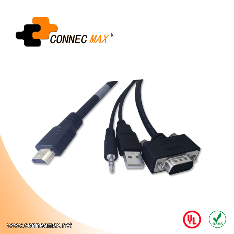 HDMI to VGA + 3.5mm audio with USB for charge