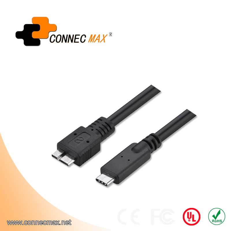 USB 3.1 type C to USB 3.0 micro B male to male cable