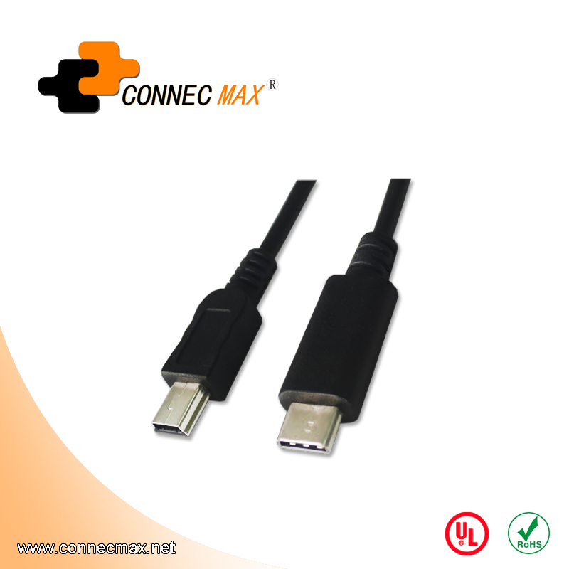 USB 3.1 type C to USB 2.0 mini 5 pin male to male cable